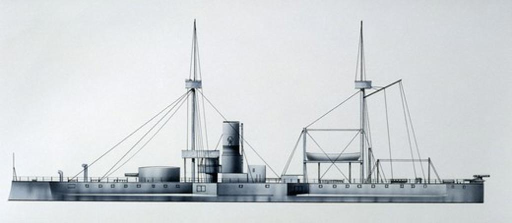 Naval ships - Danish Royal Navy coastal defense battleship, 1878. Color illustration : Stock Photo