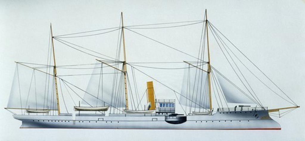 Stock Photo: 1788-40380 Naval ships - Spanish Navy sloop Jorge Juan, 1876. Color illustration