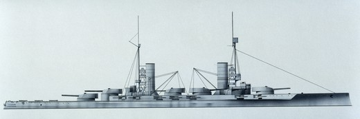 Naval ships - German Imperial Navy battleship SMS Kaiser, 1911. Color illustration : Stock Photo