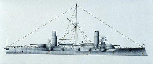 Stock Photo: 1788-40395 Naval ships - Imperial Japanese Navy armored cruiser Kasuga, 1902. Color illustration
