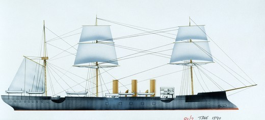 Naval ships - France's Marine Nationale protected cruiser Tage, 1886. Color illustration : Stock Photo