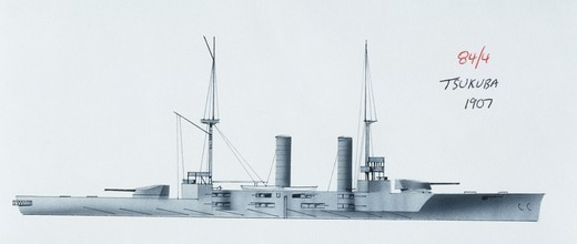 Stock Photo: 1788-40525 Naval ships - Imperial Japanese Navy armored cruiser Tsukuba, 1905. Color illustration
