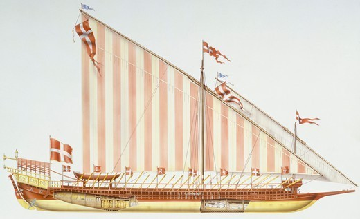 Naval ships - Galley, 18th century. Color illustration : Stock Photo