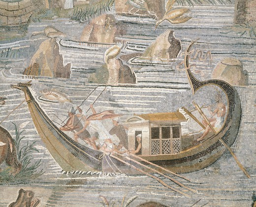 Stock Photo: 1788-40725 Mosaic depicting a bireme navigating the Nile, from Palestrina, Lazio. Roman Civilization, 1st Century BC.