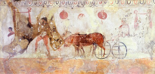 Stock Photo: 1788-40840 Journey to the underworld, painted slab from the Necropolis in Andriuolo-Laghetto in Paestum, Campania, Italy. Ancient Greek civilization, Magna Graecia, 4th Century BC.