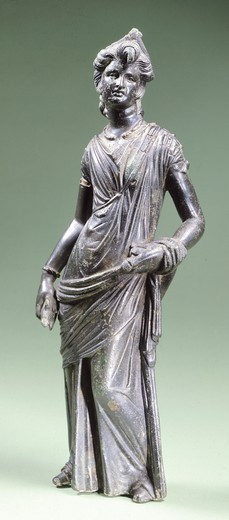 Stock Photo: 1788-40858 Female figure in bronze making an offering, from Montecchio near Cortona (Tuscany). Etruscan Civilization, 300-250 BC.