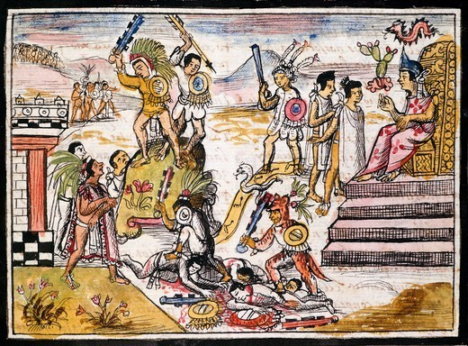 Stock Photo: 1788-40973 Fighting between tribes before the Spanish conquest of Mexico, illustration taken from the History of the Indies by Diego Duran, 1579 manuscript.