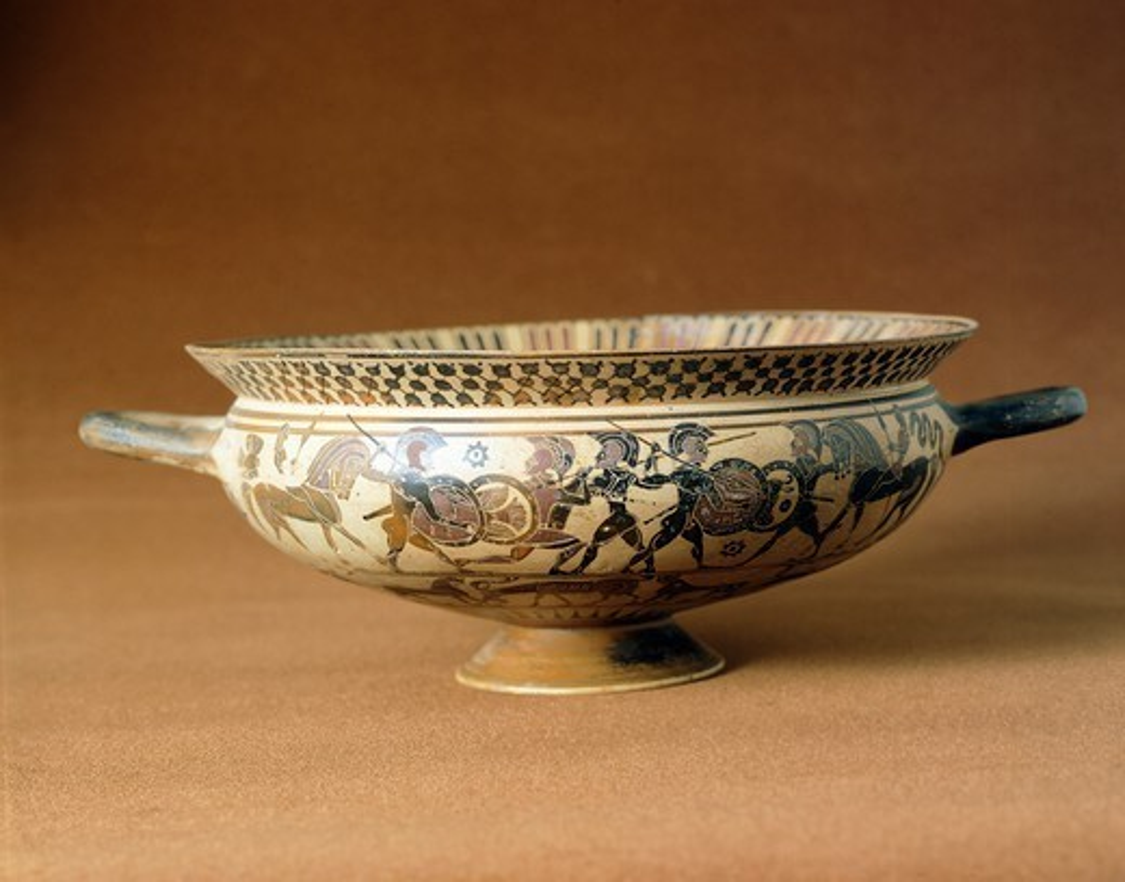 Stock Photo: 1788-40978 Kylix showing a battle scene, Corinthian pottery, Greece. Greek Civilization, 7th Century BC.