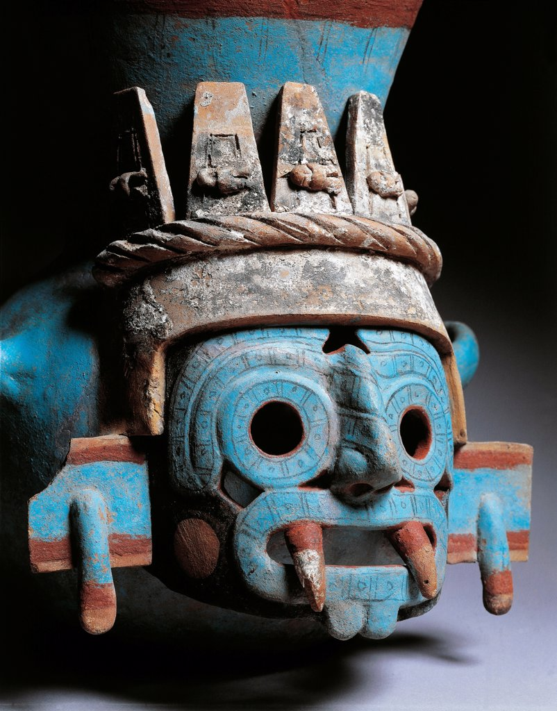 Stock Photo: 1788-41057 Polychrome pottery vase depicting Tlaloc, god of rain, height 35cm. Artifact originating from the Mayor Temple in Tenochtitlan (Mexico). Detail of the face of divinity. Aztec Civilization, 15th Century.