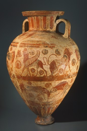 Amphora by the Bearded Sphinx Painter. Etrusco-Corinthian pottery from the tomb of the Bearded Sphinx Painter, Vulci (Lazio). Etruscan Civilisation, 610-600 BC. : Stock Photo