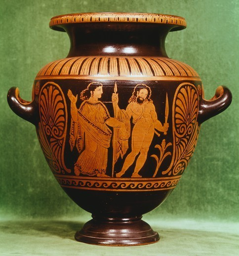 Stamnos, red-figure pottery from Vulci (Lazio). Etruscan Civilization, 4th Century BC. : Stock Photo