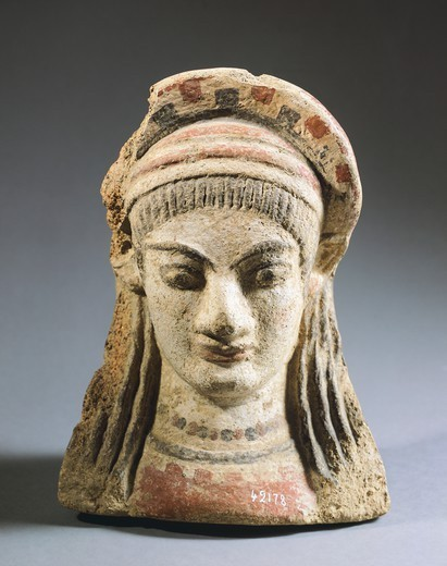 Antefix with a woman's face. Etruscan Civilization, 5th Century BC. : Stock Photo
