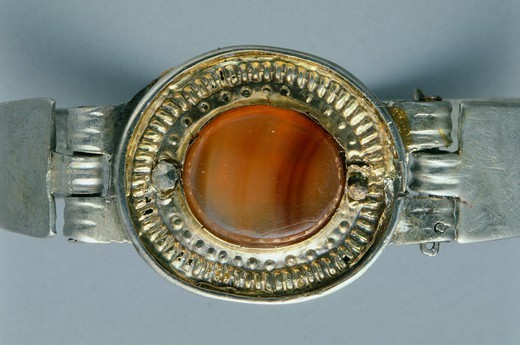 Stock Photo: 1788-41486 Silver and cornelian bracelet, Crimea. Jewellery. Gotho-Alanic Civilization, 3rd-4th Century.