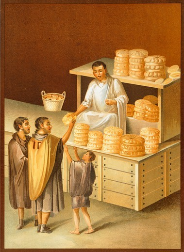 Stock Photo: 1788-41591 Reproduction of a fresco depicting a baker, from The Houses and Monuments of Pompeii, by Fausto and Felice Niccolini, Volume III, The Trades and Pompeian Industries, Plate II, 1854-1896.