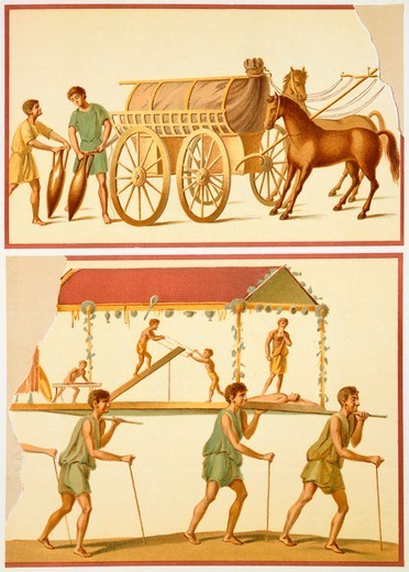 Reproduction of a fresco depicting the transport of goods on a wagon and a sedan chair, from The Houses and Monuments of Pompeii, by Fausto and Felice Niccolini, Volume III, The Trades and Pompeian Industries, Plate V, 1854-1896. : Stock Photo