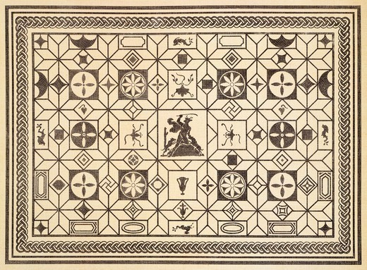 Reproduction of a mosaic with geometric patterns, from The Houses and Monuments of Pompeii, by Fausto and Felice Niccolini, Volume III, Art in Pompeii, Plate XIII, 1854-1896. : Stock Photo