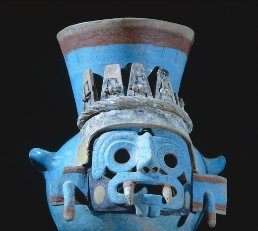 Stock Photo: 1788-41641 Urn showing a depiction of the rain god Tlaloc. Polychrome pottery artifact originating from Mexico. Aztec Civilization, 14th-16th Century.