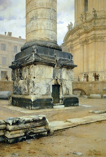 Trajan's Column in Rome, by Luigi Bazzani (1836-1927). Oil on canvas 70,5x103 cm. : Stock Photo