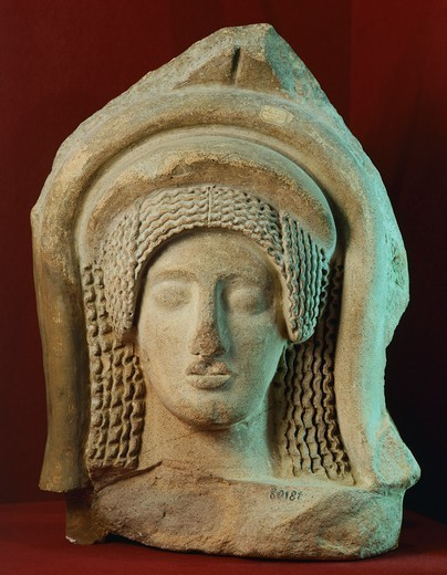 Stock Photo: 1788-41729 Antefix with relief depicting a woman's face, from Seggiano, Poggio alla Bandita (Tuscany). Etruscan Civilization, 5th Century BC.