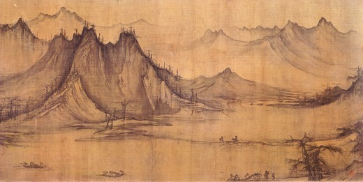 Fishing in a mountain stream, painting on a silk scroll, by Hsu Tao-ning (ca 970-ca 1052), China. Detail. Chinese Civilisation, Sung Dynasty, 10th century. : Stock Photo