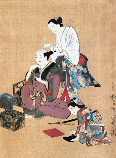 Stock Photo: 1788-41862 Noble being groomed, artist from the Kaigetsudo school, kakemono (hanging scroll) in ukiyo-e style, Japan. Japanese Civilisation, 18th century.