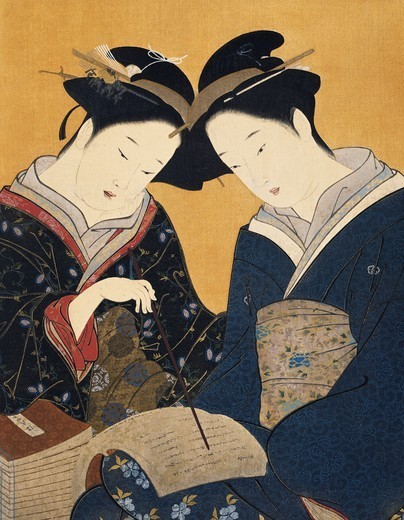 Stock Photo: 1788-41867 Two women reading a book, artist from the Katsukawa School, Japan. Japanese Civilisation, 18th century.