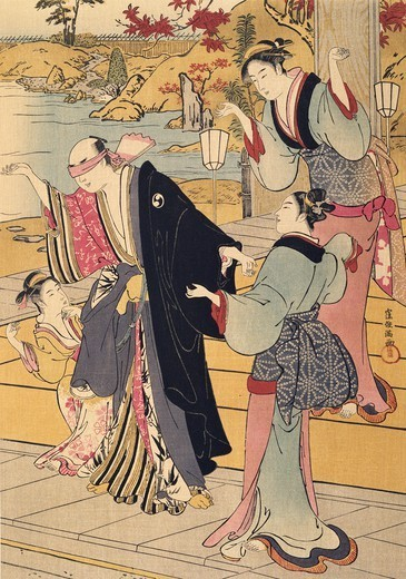 Yuranosuke in a house on the famous hill in Shimbara, detail of a game of blind man's buff, Japan. Japanese Civilisation, 17th century. : Stock Photo