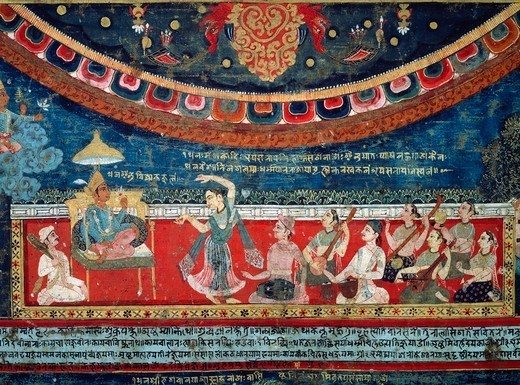 Stock Photo: 1788-41893 Music and dances performed in the presence of a prince in the glory of the gods, detail from Mandala of Amoghapasa, 1860, gouache on canvas, Nepal. Nepalese Civilisation, 19th century.