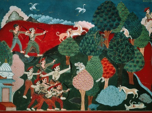 Stock Photo: 1788-41904 A king spending his days killing poor gazelles for no reason, later, in another life, he is a gazelle and is killed by a hunter, detail from the Swayambhu Purana, an important Buddhist sacred text in Nepal, gouache, Nepal. Nepalese Civilisation, 19th century.