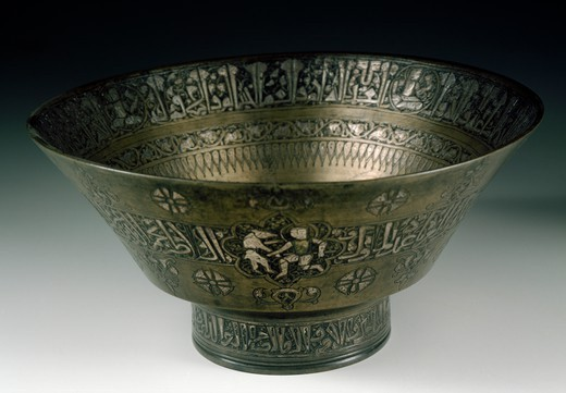 Stock Photo: 1788-42009 Bronze cup, engraved and inlaid, by Najm al-Din Umar al Badri. Islamic Civilisation, 13th century.
