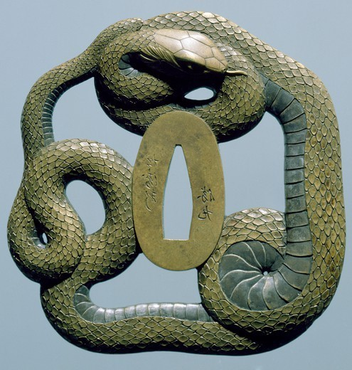 Stock Photo: 1788-42038 Brass tsuba, engraved, pierced and damascened, depicting a snake coiled around itself, Japan. Japanese Civilisation, 19th century.