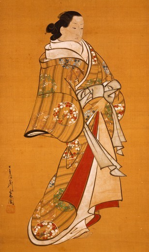 Stock Photo: 1788-42041 Figure of a woman, kakemono (hanging scroll), by Miyagawa Choshun (1682-1752), Japan. Japanese Civilisation, 18th century.