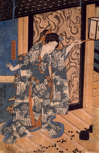Nareginu, Mikawa no Zenji's daughter, left part of a triptych, 1842-1843, by Utagawa Kuniyoshi (1798-1861), woodcut, Japan. Japanese Civilisation, Meiji period, 19th century. : Stock Photo