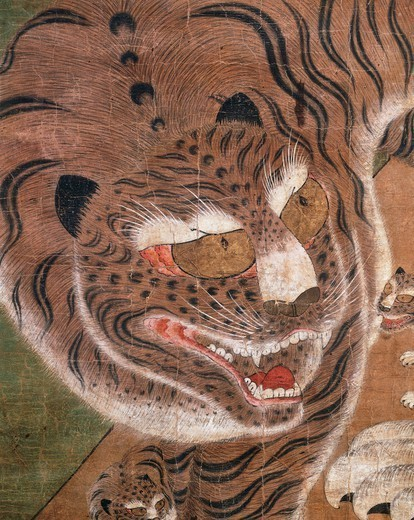 Tiger with its young, ink and colour on silk, Korea. Korean Civilisation, Joseon dynasty, 18th century. : Stock Photo