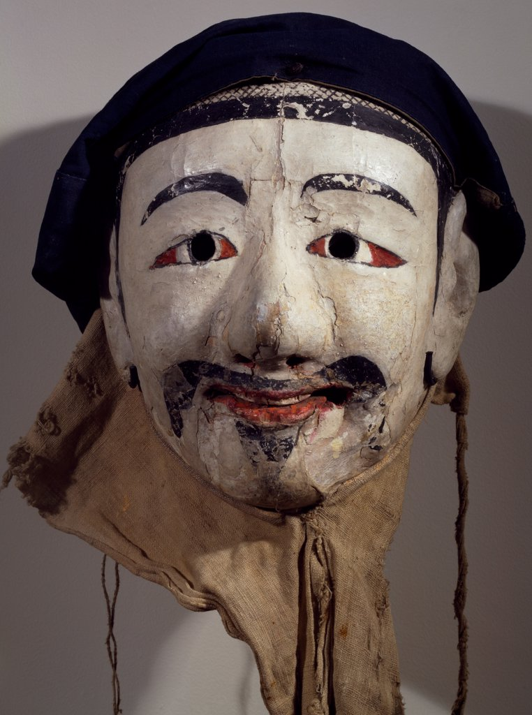 Stock Photo: 1788-42166 Painted wooden mask and fabric depicting a police officer. Korean civilization, Choson period, 18th century.