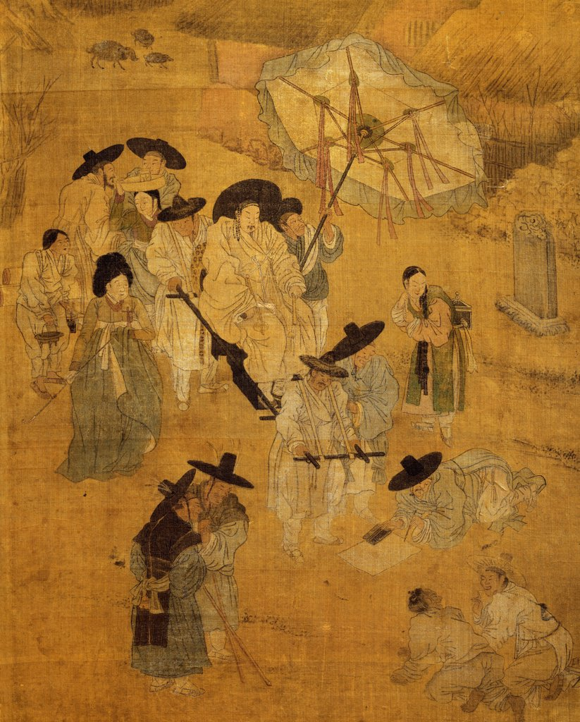 Stock Photo: 1788-42172 Walk of a notable figure, detail on screen with eight panels depicting moments of everyday life signed by Kim Hong-do (1745-1814), ink and colours on silk. Korean civilization, Choson period (18th-19th century).