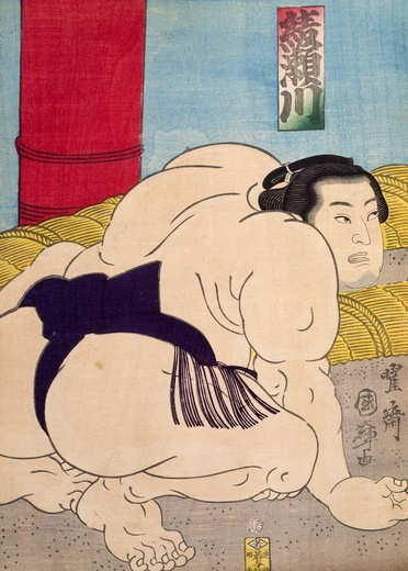 Sumo wrestler, by Utagawa Toyokuni (1769-1825), woodcut, Japan. Japanese Civilisation, 19th century. : Stock Photo
