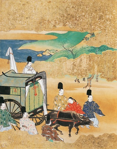 The bride arriving in a carriage to her betrothed's house, painter from the Tosa school, from a traditional literature novel, Japan. Japanese Civilisation, 19th century. : Stock Photo