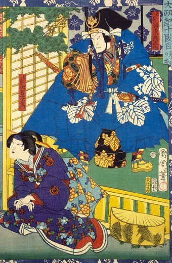 Stock Photo: 1788-42250 Detail of an ukiyo-e depicting the Kabuki Theatre, with a couple in cermonial dress, 19th century, woodcut from the Kabuki Theatre series. Japanese civilization, Edo period (1603-1868).