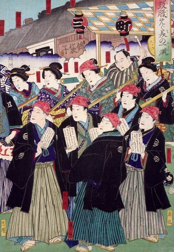 Stock Photo: 1788-42263 Ukiyo-e with historical scene (sewamono): epic and procession of young noblemen, 19th century, detail of a woodcut from the Kabuki Theatre series. Japanese civilization, Edo period (1603-1868).