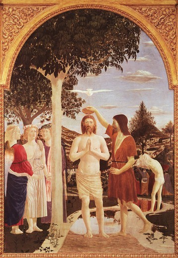 Stock Photo: 1788-42310 The Baptism of Christ, 1440-1460, by Piero della Francesca (1412-1492), tempera on wood, 167x116 cm.