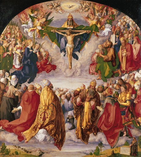 Adoration of the Trinity by all the Saints, 1511, by Albrecht Durer (1471-1528), oil on canvas, 135x123 cm. : Stock Photo