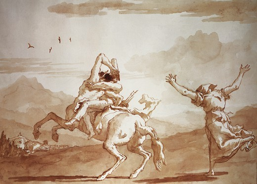 Pulcinella kidnapped by the centaur, by Giandomenico Tiepolo (1727-1804), pen and ink, watercolor on paper. : Stock Photo