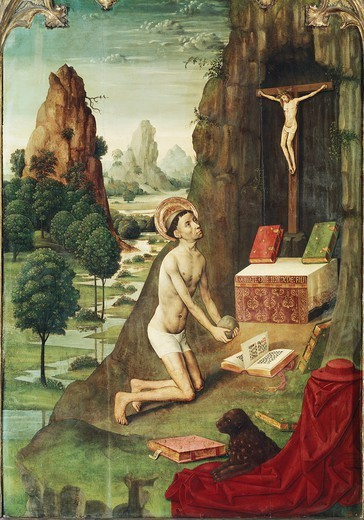 Stock Photo: 1788-42338 St Jerome in penance, by the Master of Canapost (active ca 1475-1496).