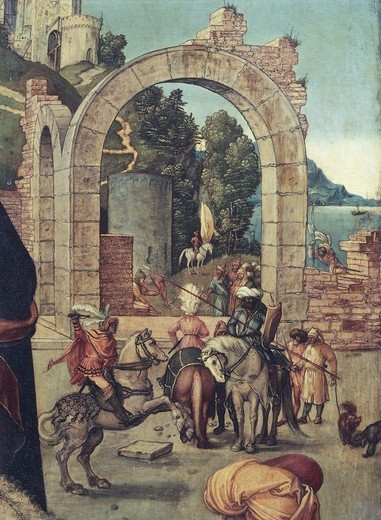 Stock Photo: 1788-42341 The ruins of an arch, detail from the Adoration of the Magi, 1504, by Albrecht Durer (1471-1528), oil on canvas, 99x113.5 cm.