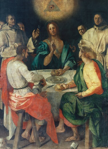 Dinner at Emmaus, 1525, by Jacopo Carucci, known as The Pontormo (1494-1557), oil on canvas, 230x173 cm. : Stock Photo