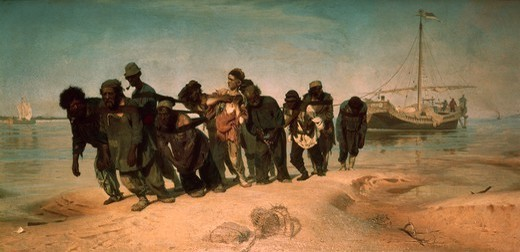 Barge Haulers on the Volga, 1870-1873, by Ilia Repin (1844-1930), oil on canvas, 131x281 cm. : Stock Photo