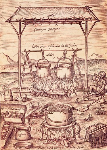 The country kitchen, 1570, by Bartolomeo Scappi (1500-1577), illustration from L'arte et prudenza d'un maestro Cuoco (The Art and Craft of a Master Cook). : Stock Photo