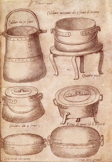 Pots, 1570, by Bartolomeo Scappi (1500-1577), illustration from L'arte et prudenza d'un maestro Cuoco (The Art and Craft of a Master Cook). : Stock Photo