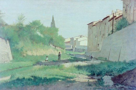 At the Mugnone River, by Odoardo Borrani (1834-1905). : Stock Photo
